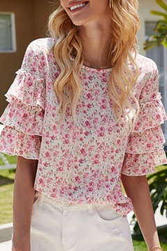 Trendy Girls Summer Tee Ditsy Floral Layered Ruffled Half Sleeve Crew Neck Fitted T Shirt