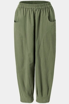 Retro Womens Pants Plain Linen Pleated-Cuffed Elastic Waist Loose Fitted 7/8 Length Tapered Relaxed Pants