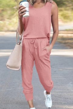 Sporty Women's Two Piece Set Solid Color Crew Neck Sleeveless Relaxed Fitted T-Shirt and Pants Set