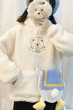 Classic Womens Hoodie Bear Letter Embroidery Thickened Sherpa Drawstring Kangaroo Pocket Loose Fit Long Sleeve Hoodie