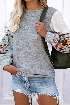 Elegant Sweatshirt Patchwork Flower Embroidery Round Neck Bishop Sleeve Regular Fitted Pullover Sweatshirt for Women