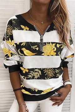 Fashionable Hoodie Stripe Star Pattern 1/4 Zip Collar Long Sleeve Fitted Hoodie Sweatshirt