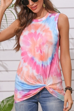 Womens Trendy Vest Shirt Tie-Dye Twist Hem Sleeveless Crew Neck Fitted Blouse