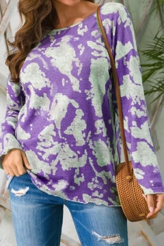 Casual Women's Sweater Tie Dye Printed Scoop Neck Long Sleeve Regular Fit Knitted Sweater