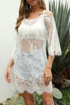 Womens White Camisole Sexy Sheer Lace Backless Strap Loose Fit Long Sleeve Cold Shoulder Blouse