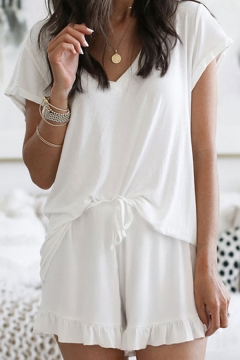 Free Style Women's Tee Top Solid Color Drawstring Waist V Neck Short Sleeve Relaxed Fitted T-Shirt and Shorts Set