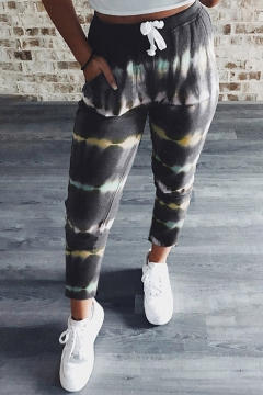 Fashion Pants Tie Dye Pattern Drawstring Waist Regular Fit Pants for Women