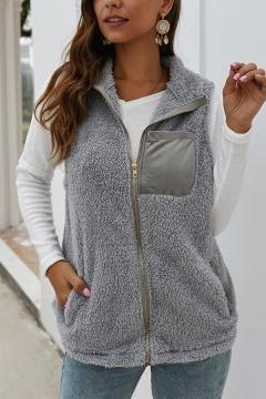 Basic Vest Fur Fleece Patchwork Color Block Side Pockets Button-down Sleeveless Regular Fitted Vest for Women