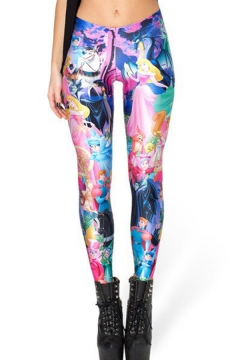 Cute Womens Leggings Cartoon Anime Paisley 3D Digital Print Mid Waist Full Length Skinny Leggings