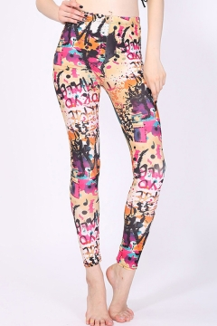 Unique Womens Leggings High Waist Graffiti Graphic Pattern High Waist Ankle Length Skinny Leggings
