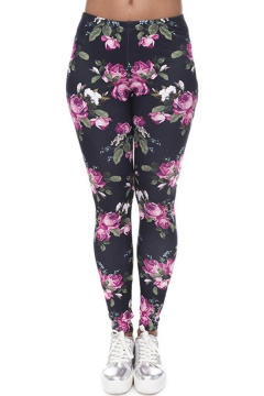 Stylish Women's Leggings Floral Pattern Mid Waist Full Length Skinny Bottoming Leggings