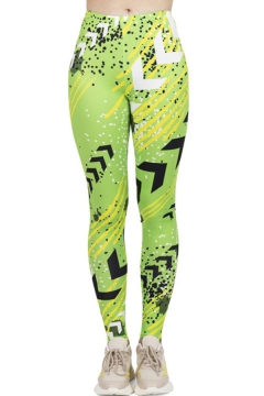 Fancy Women's Leggings Graphic Pattern Mid Waist Elasticity Ankle Length Skinny Leggings