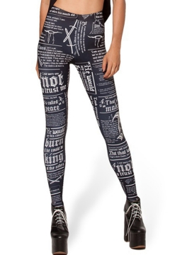 Stylish Women's Leggings Geometric Letter Graphic Pattern High Waist Full Length Skinny Leggings