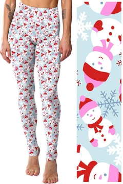 Stylish Womens Leggings Snowman Snowflakes Cartoon Pattern Elasticity High Rise Full Length Skinny Leggings