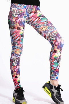 Retro Womens Leggings All over Color Graphic Graffiti Painted High Rise Ankle Length Skinny Leggings