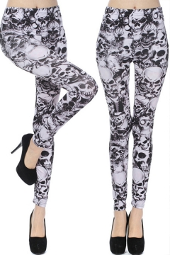 Fancy Women's Leggings All over Skull Print Mid Waist Ankle Length Skinny Leggings