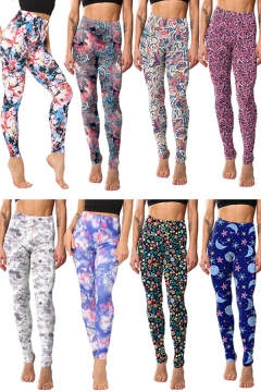 Stylish Womens Leggings Multi Color Paisley Floral Print High Waist Ankle Length Skinny Leggings
