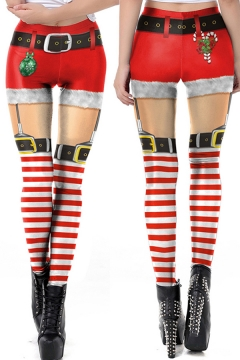 Retro Women's Leggings Christmas Shorts 3D Pattern High Rise Full Length Skinny Leggings