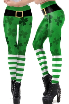 Fancy Women's Leggings Clover 3D Pattern Mid Rise Full Length Skinny Leggings