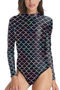 Retro Womens Bodysuit Fish Scale Pattern Mock Neck Long-sleeved Fitted Bodysuit