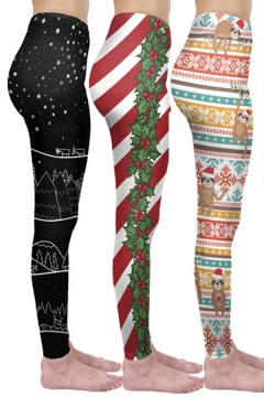 Trendy Women's Leggings Star Christmas Tree Snowflakes Leaf Pattern High Waist Ankle Length Skinny Leggings