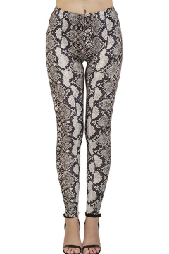 Stylish Women's Leggings Snake Skin Pattern Mid Rise Elasticity Ankle Length Skinny Leggings