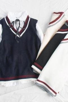 Cozy Women's Knit Vest Contrast Stripe Pattern Ribbed Trim V Neck Sleeveless Regular Fitted Pullover Knit Vest