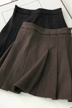 Casual Women's Skirt Solid Color Pleated High Waist Invisible Zip Mini A-Line Skirt