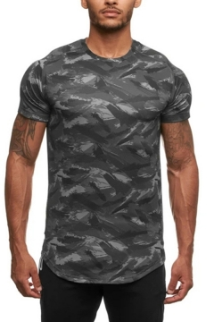 Cool T Shirt Camo Patterned Short Sleeve Crew Neck Regular Fit Tee Top for Men