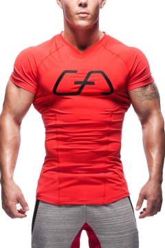 Sports Mens T Shirt Logo Printed Short Sleeve V-neck Slim Fitted Tee Top