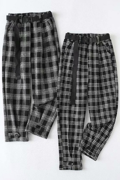 Elegant Women's Pants Plaid Print Elastic Waist Banded Cuffs Ankle Length Tapered Pants with Waist Belt