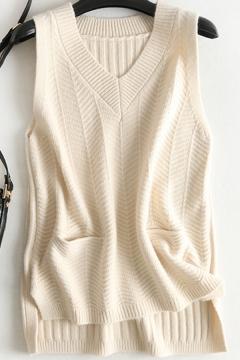 Fancy Women's Knit Vest Plain Ribbed Trim High-Low Front Pocket Sleeveless Regular Fitted Pullover Knit Vest