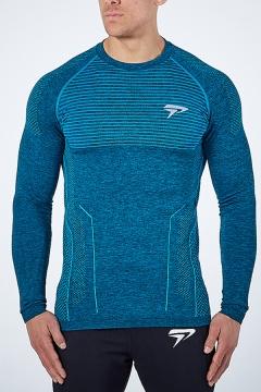 Mens Gym T Shirt Logo Print Contrast Pipe Long Sleeve Crew Neck Slim Fit T Shirt
