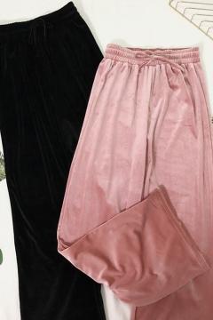 Fancy Women's Pants Pleuche Solid Color Drawstring Elastic Waist Long Straight Pants