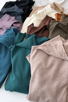 Fancy Women's Tee Top Solid Color Raw Hem Long Sleeves Regular Fitted Bottoming T-Shirt