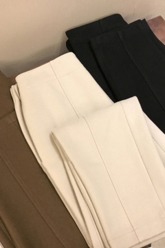 Formal Women's Pants Solid Color Elastic Waist Ankle Length Tapered Pants