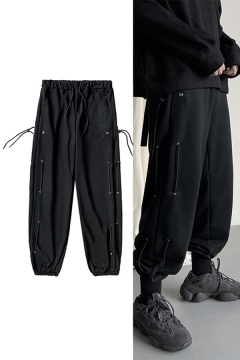 Street Mens Pants Button Sides Drawstring Waist Ankle Relaxed Fit Solid Pants