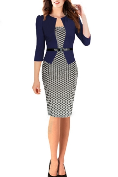 Ladies Elegant Dress Patchwork Long Sleeve Belted Rhombus Print Mid Sheath Dress