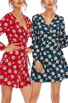 Womens Dress All Over Floral Print Long Sleeve Surplice Neck Tied Waist Short Wrap Dress