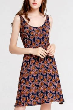 Womens Fashion Dress Allover Floral Print Round Neck Short A-line Tank Dress in Navy Blue