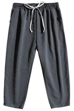 Fashionable Mens Pants Solid Color Drawstring Waist Ankle Tapered Fit Pants