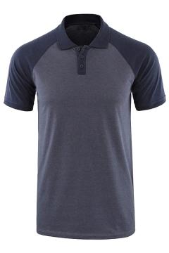 Mens Polo Shirt Stylish Color Block Raglan Button Detail Turn-down Collar Slim Fit Short Sleeve Polo Shirt
