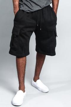 Basic Mens Shorts Plain Flap Pockets Drawstring Waist Straight Shorts