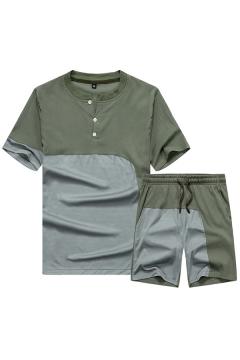 Basic Tracksuit Mens Color Block Asymmetric Panel Split Neck Short Sleeve T-Shirt Slim Fit Drawstring Waist Shorts Set
