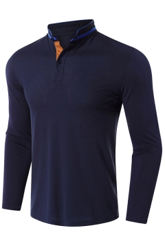 Basic Polo Shirt Mens Contrast Panel Button Detail Long Sleeve Stand Collar Slim Fit Polo Shirt