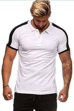 New Stylish Patched Shoulder Colorblock Short Sleeve Slim Fit Polo Shirt for Men