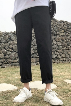 Mens Basic Pants Solid Color Mid Rise Ankle Length Straight Pants