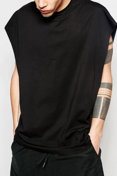 Hip Hop Mens Tank Sleeveless Crew Neck Solid Color Relaxed Tank Top