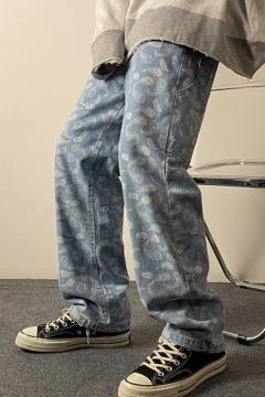 Trendy Boys Jeans Allover Paisley Print Mid Rise Long Length Wide-leg Jeans