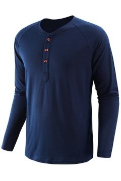 Fashionable Mens Tee Shirt Plain Color Raglan Slim Fit Long Sleeve Henley Neck Tee Shirt
